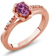 Gem Stone King 0.52 Ct Oval Pink Tourmaline White Topaz 18K Rose Gold Ring