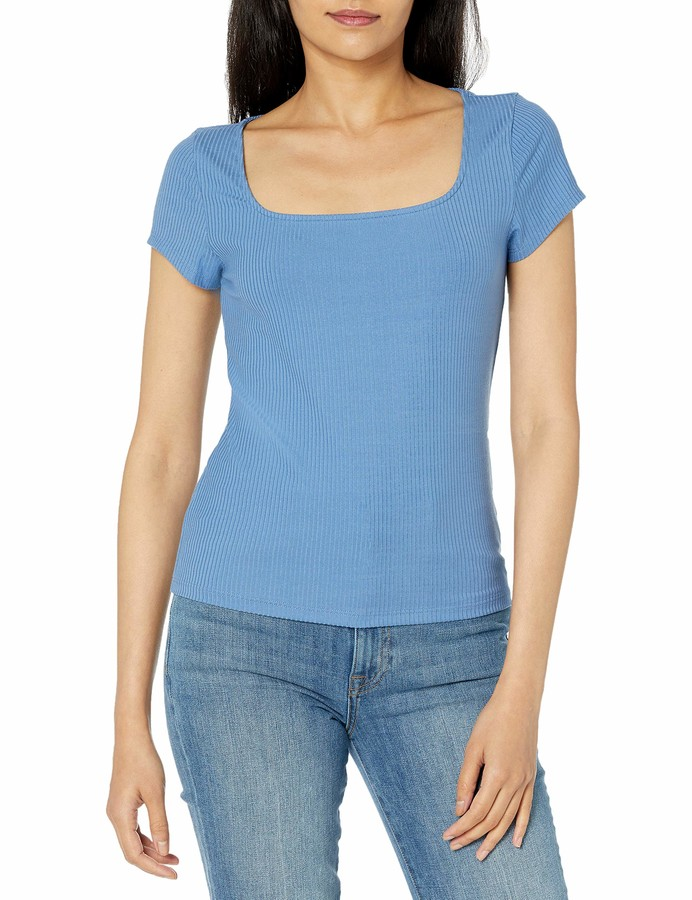 Thumbnail for your product : The Drop Women's Anne Cap Sleeve Square Neck Fitted Rib Knit Top
