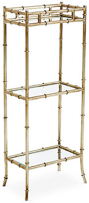 One Kings Lane 3-Tier Bamboo-Style Side Table - Silver - Antiqued Silver/Mirrored