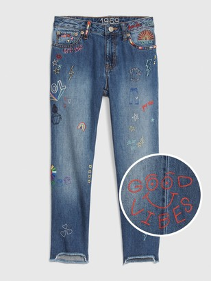 Gap Kids 50th Embroidered Girlfriend Jeans