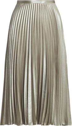 Ralph Lauren Pleated Metallic Lame Skirt