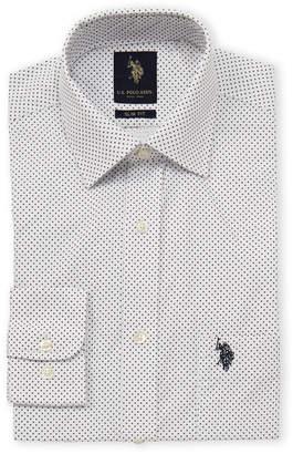 U.S. Polo Assn. Slim Fit Micro Diamond Long Sleeve Dress Shirt