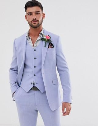 Asos Design DESIGN wedding skinny suit jacket in lilac cross hatch-Purple