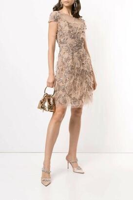 Marchesa Cap Sleeve Feather Cocktail Dress