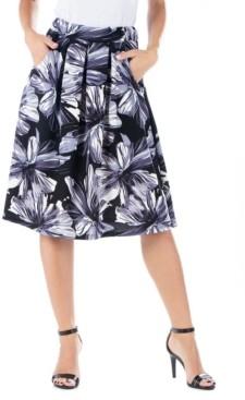 24seven Comfort Apparel Women's Floral Knee Length Pocket Skirt