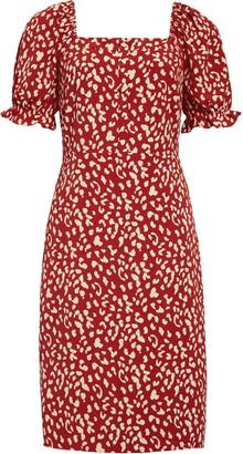 Chelsea28 Chelsea 28 Leopard Print Square Neck Dress