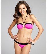 Vitamin A hot pink and black two-tone side tie bikini bottom