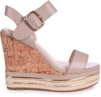 Linzi APRIL - Taupe Nappa Cork Wedge With Gold Rope Trim