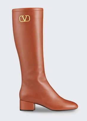 Valentino Garavani VLOGO Napa Leather Knee Boots