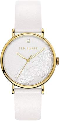 Ted Baker White and Rose Gold Case Floral Dial White Leather Strap Ladies Watch