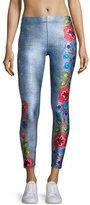 Terez Floral Embroidery Performance Leggings, Multi Pattern