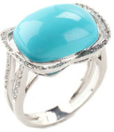 NEW DESIGNER 18kt White Gold Turquoise Diamond Cocktail Ring Sz 7.75 $2200