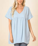 Ash Lydiane Women's Tunics  Blue V-Neck Short-Sleeve Babydoll Tunic - Plus