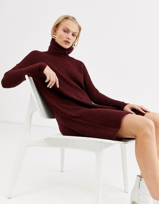 Only knitted roll neck dress in burgundy