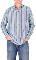 Men's Aqua Striped Long Sleeved Shirt of Handwoven Cotton, 'Tikal Sky'
