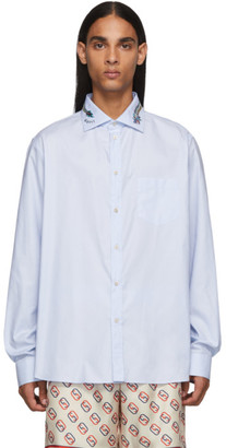 Gucci Blue Dragon Collar Shirt