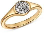Adina Reyter 14K Yellow Gold Pave Diamond Disc Small Signet Ring