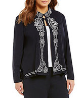 Ming Wang Plus Mandarin Collar 3/4 Sleeve Soutache Trim Jacket