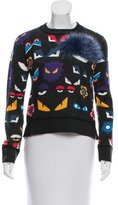 Fendi Fur-Trimmed Bag Bugs Sweater w/ Tags