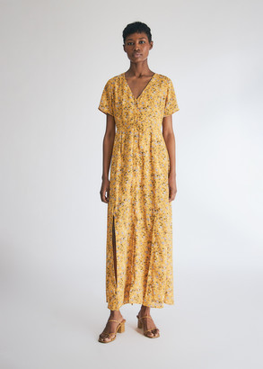 Laurèl Farrow Women's Floral Dress in Yellow, Size Extra Small