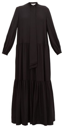 Tibi Pussy-bow Tiered Silk Maxi Dress - Womens - Black