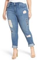 Melissa McCarthy Plus Size Women's Patch Detail Distressed Stretch Skinny Jeans
