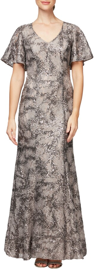 Alex Evenings Lace & Sequin Fit & Flare Gown