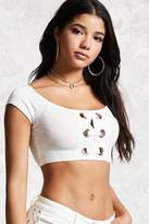 Forever 21 Lace-Up Ribbed Crop Top