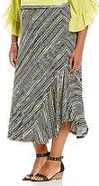 Multiples Plus Pull-On Godet Asymmetrical Hem Wavy Stripe Print Skirt