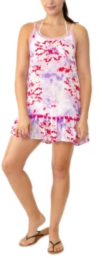Miken Juniors' Printed Tiered Pom-Pom Cover-Up, Created for Macy's Women's Swimsuit