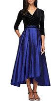 Alex Evenings Tea Length Beaded Waist Velvet Dress