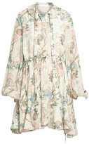 Chloé Puff-Sleeve Silk Floral Dress