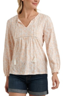 Lucky Brand Cotton Floral-Print Pleated Top