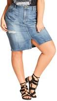 City Chic Plus Size Women's Destroyed Denim Skirt