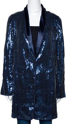Dolce & Gabbana Navy Blue Sequin Embellished Silk Blend Mid Length Jacket M