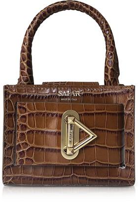 Croco Loulou Embossed Tan Leather Top Handle Bag