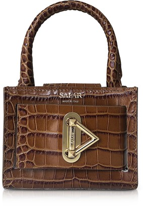 Croco Salar Loulou Embossed Tan Leather Top Handle Bag