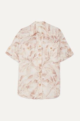 Zimmermann Super Eight Printed Ramie Shirt - Ecru