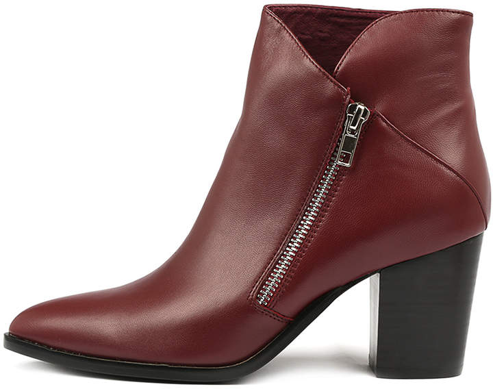 Django & Juliette Tapdance Burgundy Boots Womens Shoes Casual Ankle Boots