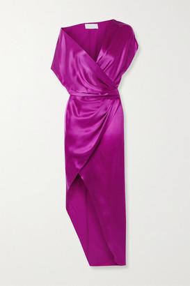 Mason by Michelle Mason Draped Wrap-effect Silk-satin Dress - Violet