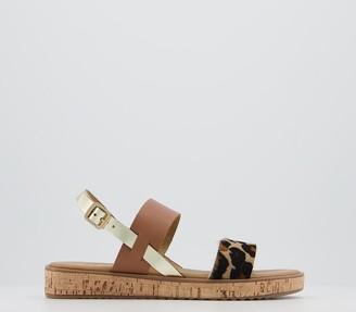 Office Sense Cork Sole Sandals Tan Leopard Gold Mix