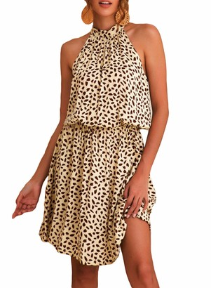 FIYOTE Womens Floral Print Off Shoulder Halter Summer Mini Dress Beach Dress Sundress Brown