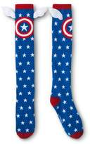 Marvel Women's Captain America Knee High Socks With Wings - Blue One Size