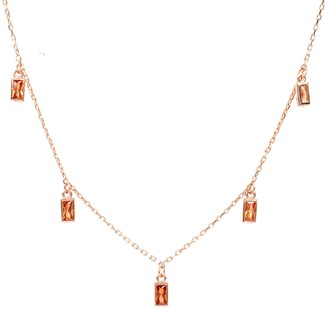 Latelita Baguette Champagne Long Chain Necklace Rosegold