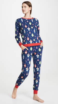 Bedhead Pajamas x Peanuts® Snoopy Ornaments Crew & Jogger Set