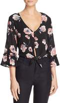 Cotton Candy Floral Print Tie-Front Cropped Top