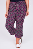 Yours Clothing Black & Pink Printed Cropped Trousers With Draw String Waist