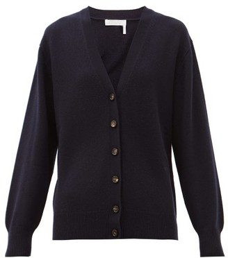 Chloé Drawstring-back Buttoned Cashmere Cardigan - Navy