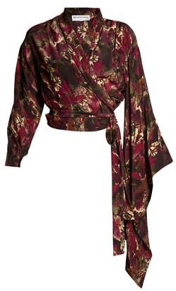Balenciaga Abstract-print Crepe De Chine Wrap Top - Womens - Purple Print