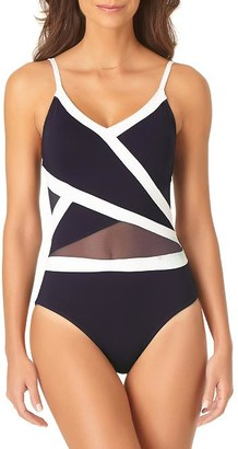 Anne Cole Signature Hot Mesh Asymmetrical Splice One-Piece